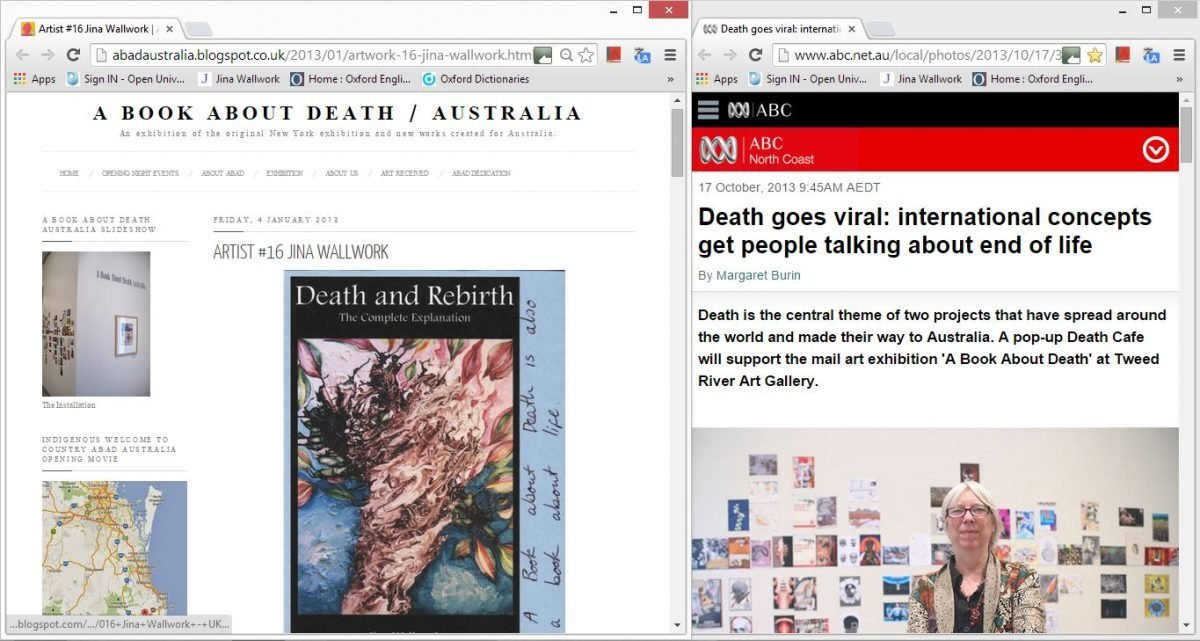 2013 a book death about death exhibition (web clippings)