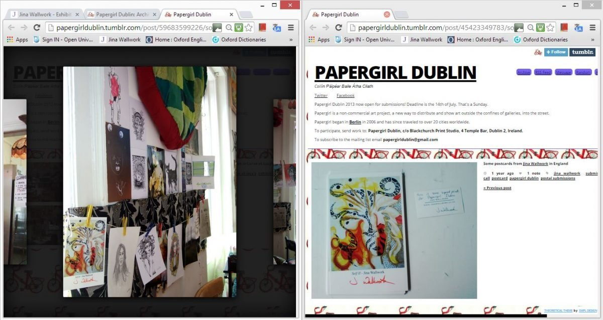 2013 papergirl dublin exhibition (web clippings)