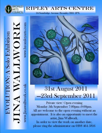 exhibition poster Jina Wallwork ripley arts centre bromley