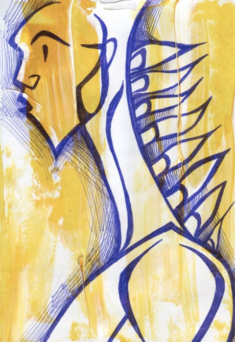 The image shows a piece of artwork by Jina Wallwork. It is a painting and an ink drawing of a person. Stylistically this piece of artwork has links with expressionism.