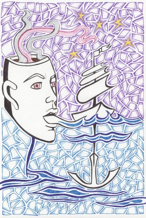 The image shows a piece of artwork by Jina Wallwork. It is an ink drawing of a face, a cup and a ship. Stylistically this piece of artwork has links with surrealism.