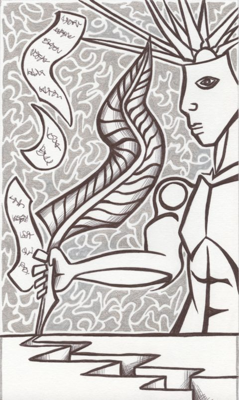 The image shows a piece of artwork by Jina Wallwork. It is a ink drawing of a person. Stylistically this piece of artwork has links with surrealism.