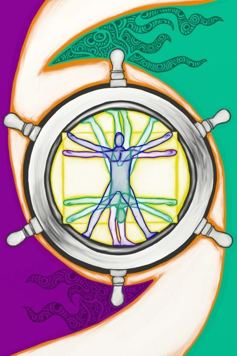 Wheel of Fortune, taken from a set of Tarot cards designed by Jina Wallwork.