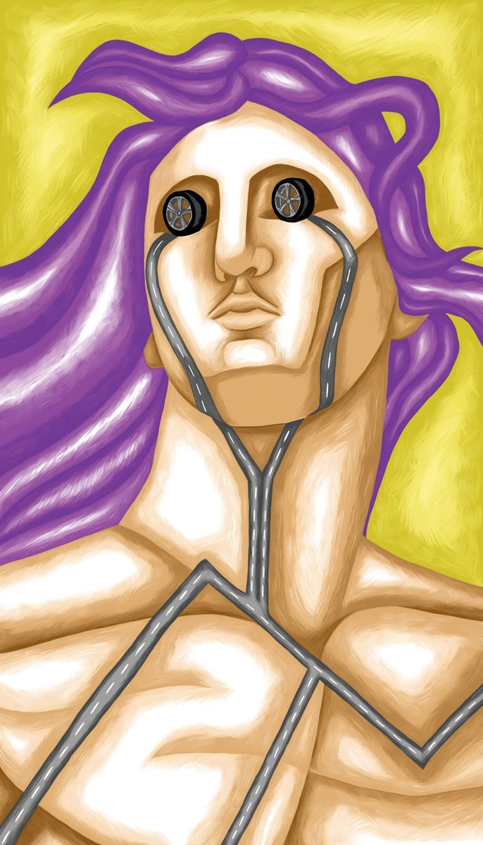 The image shows a piece of artwork by Jina Wallwork. It is a digital painting of a person. Stylistically this piece of artwork has links with surrealism.