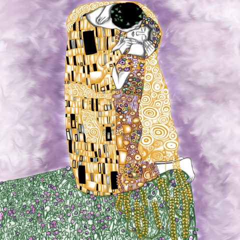 Jina Wallwork's version of The Kiss, originally by Gustav Klimt.
