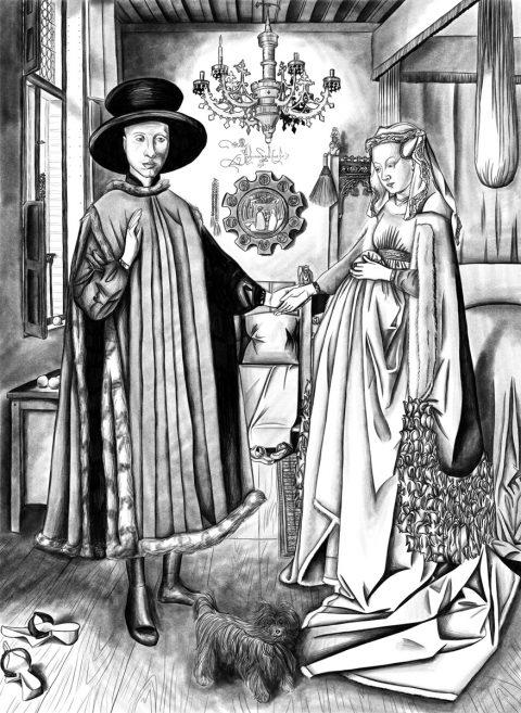 Jina Wallwork's version of The Arnolfini Portrait , originally by Jan van Eyck.