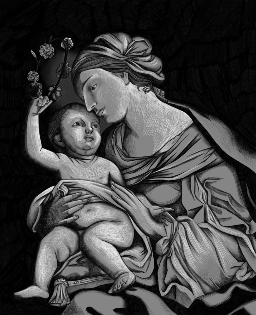 Jina Wallwork's version of the Virgin and Child , originally by Elisabetta Sirani.