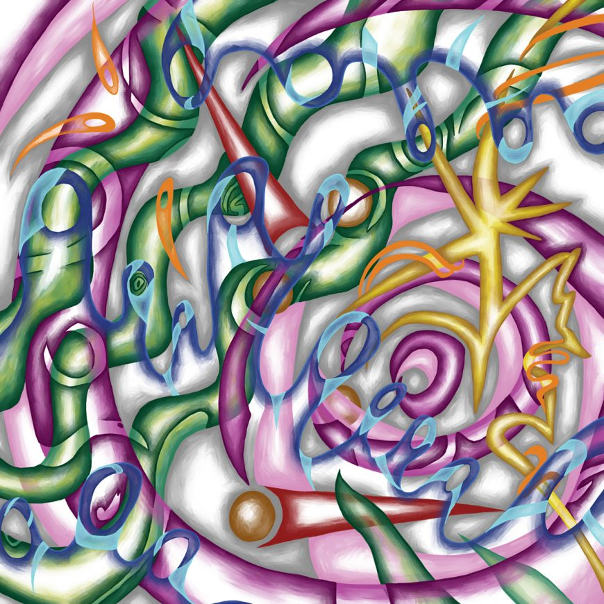 The image shows a piece of artwork by Jina Wallwork. It is a digital painting of music. Stylistically this piece of artwork has links with abstract art.