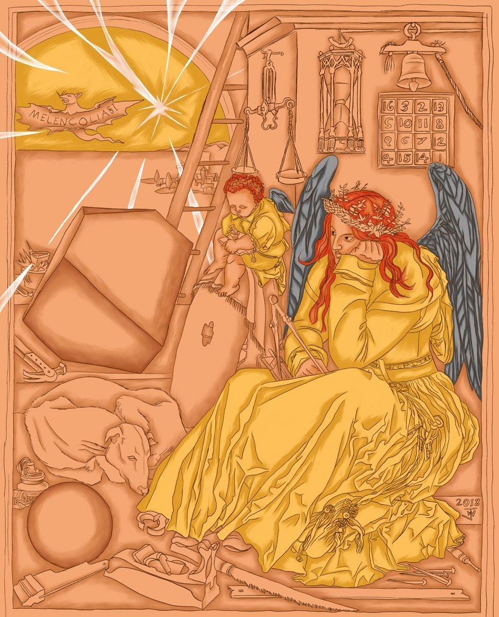 Jina Wallwork's version of Melencolia 1, originally by Albrecht Dürer.