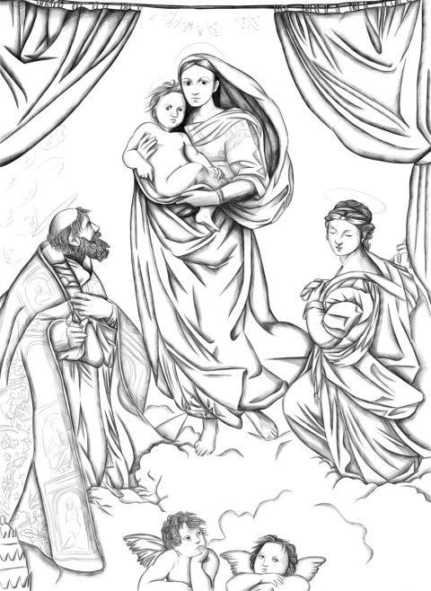 Jina Wallwork's version of The Sistine Madonna , originally by Raphael.
