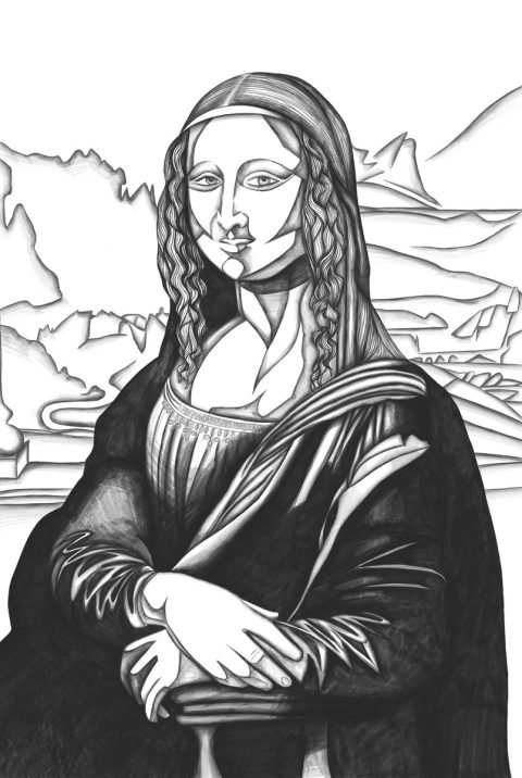 The image shows a piece of artwork by Jina Wallwork.It is a digital drawing of the Mona Lisa originally by Leonardo Da Vinci. Stylistically this piece of artwork has links with expressionism.