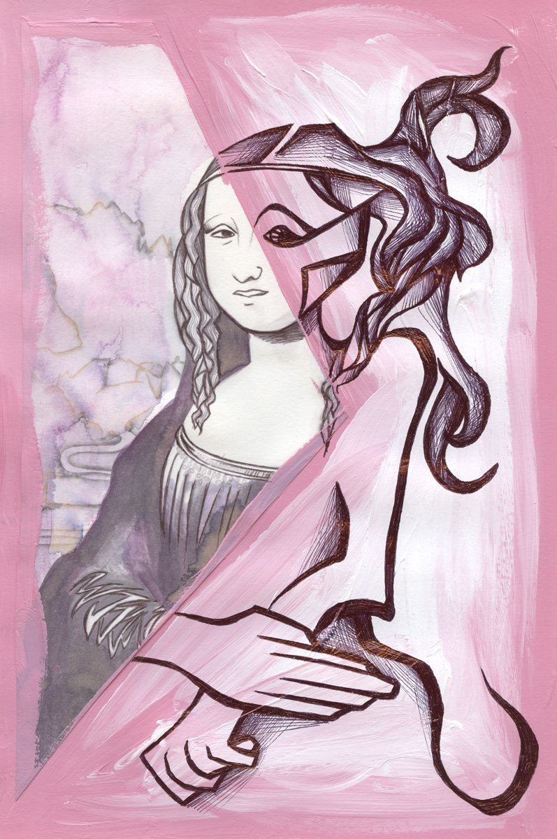 The image shows a piece of artwork by Jina Wallwork.It is a ink, paint, and watercolor painting of the Mona Lisa originally by Leonardo Da Vinci. Stylistically this piece of artwork has links with expressionism.