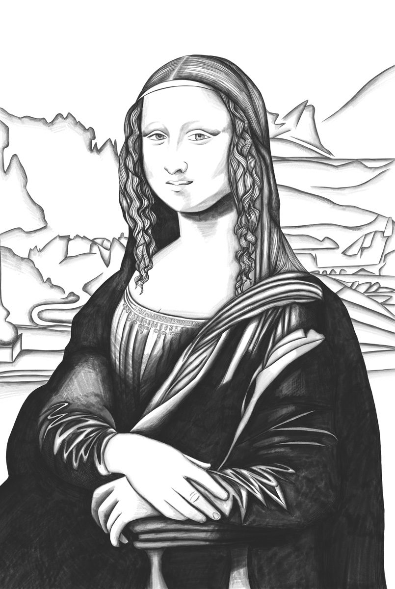 The image shows a piece of artwork by Jina Wallwork. It is a digital drawing of the Mona Lisa originally by Leonardo Da Vinci. It is created in a realistic style.