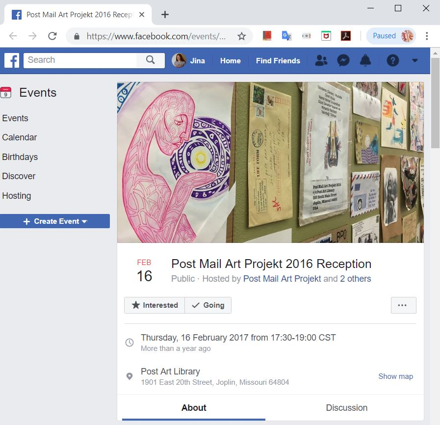 post art mail art project 2017 (web clippings)