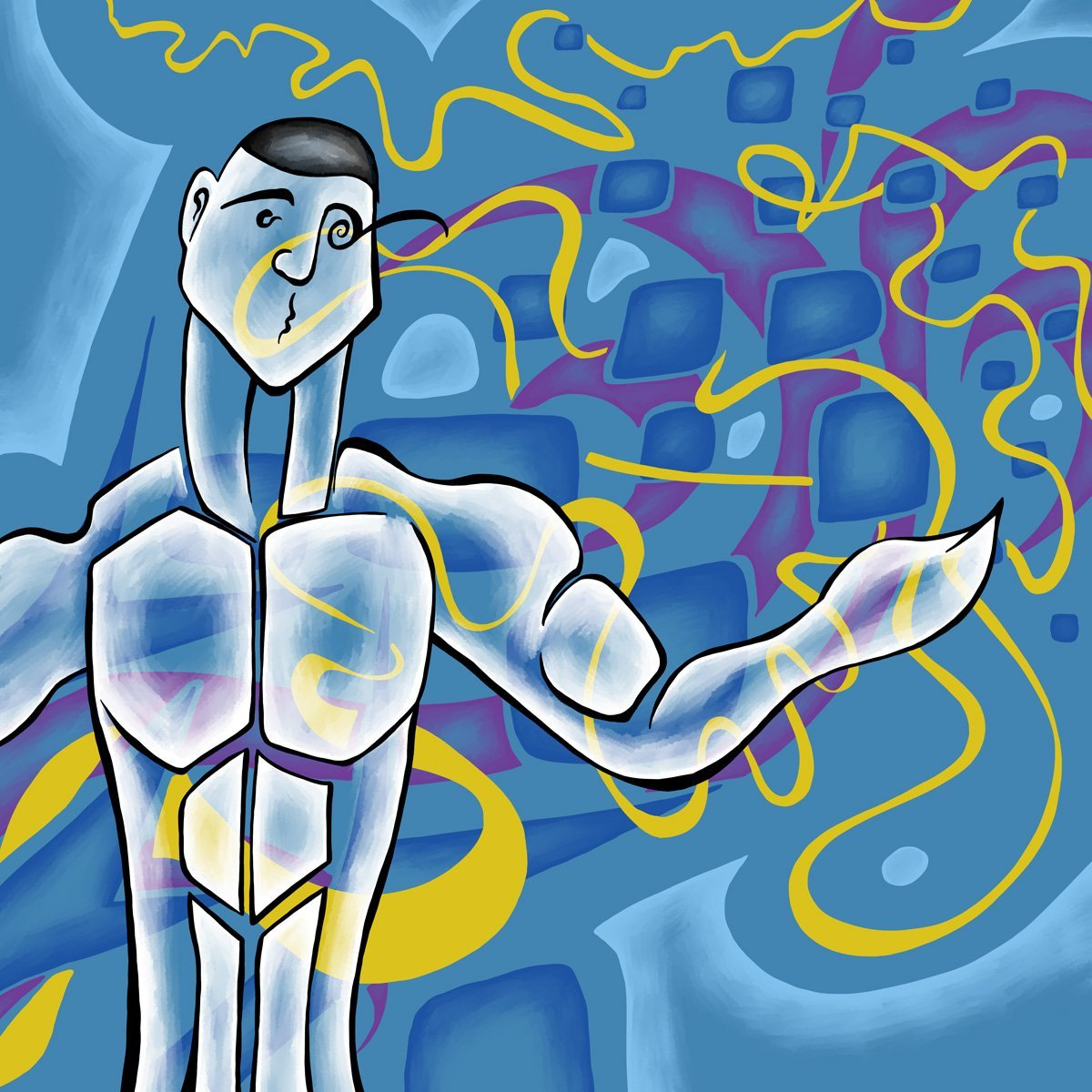 The image shows a piece of artwork by Jina Wallwork. It is a digital painting of a person and a piece of music. This image depicts section 3 of the piece of music, 'Thomas', that was also created by Jina Wallwork. Stylistically this piece of artwork has links with expressionism and abstract art.
