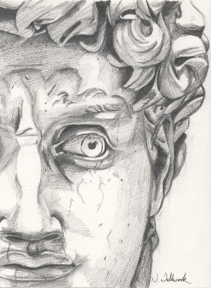 The image shows a piece of artwork by Jina Wallwork. It is a drawing of the sculpture of David by Michelangelo. Stylistically this piece of artwork has links with realism.
