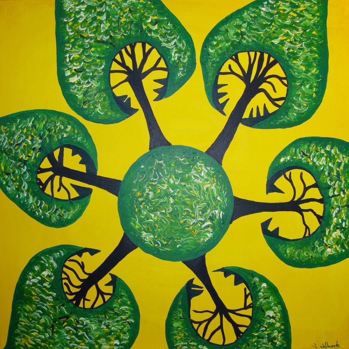The image shows a piece of artwork by Jina Wallwork. It is a painting of trees. Stylistically this piece of artwork has links with expressionism and abstract art.
