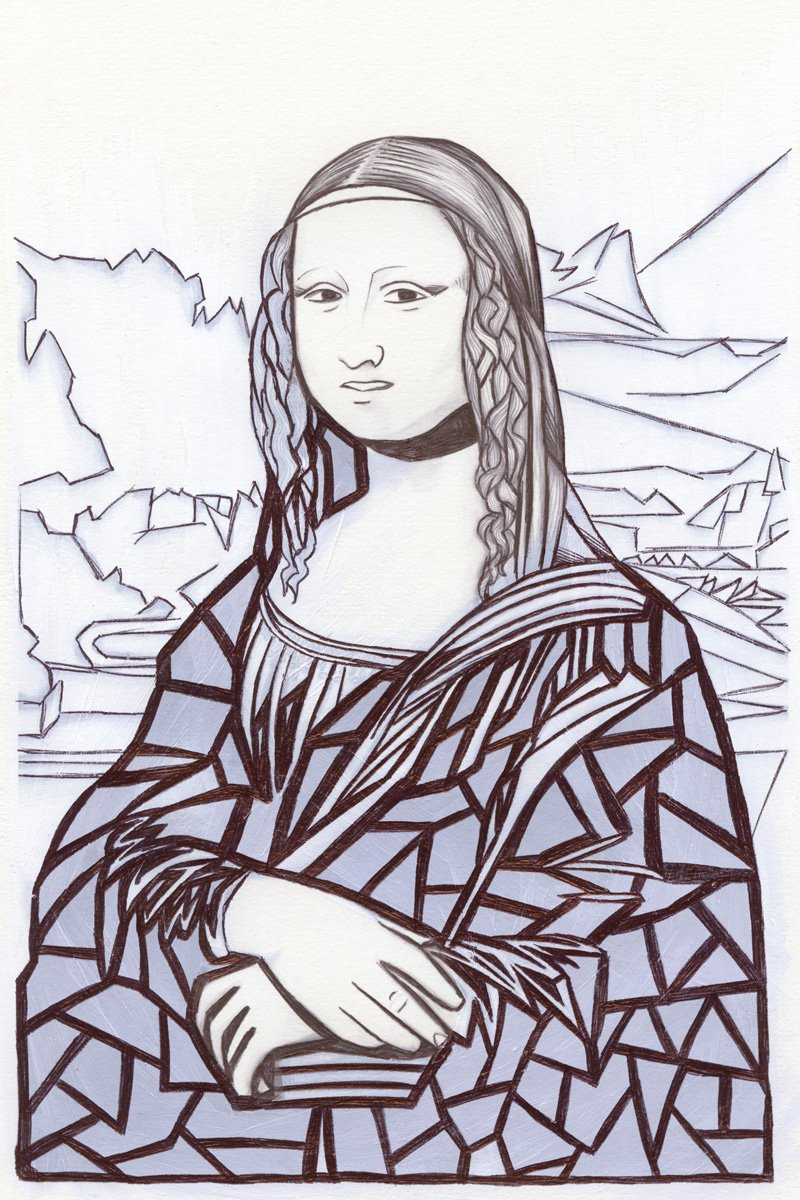 The image shows a piece of artwork by Jina Wallwork.It is a ink and paint drawing of the Mona Lisa originally by Leonardo Da Vinci. Stylistically this piece of artwork has links with expressionism.