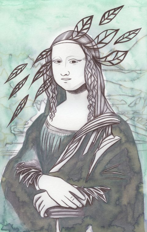 The image shows a piece of artwork by Jina Wallwork.It is a ink and watercolor painting of the Mona Lisa originally by Leonardo Da Vinci. Stylistically this piece of artwork has links with expressionism.