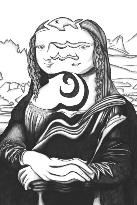 The image shows a piece of artwork by Jina Wallwork. It is a digital drawing of the Mona Lisa originally by Leonardo Da Vinci. Stylistically this piece of artwork has links with surrealism.