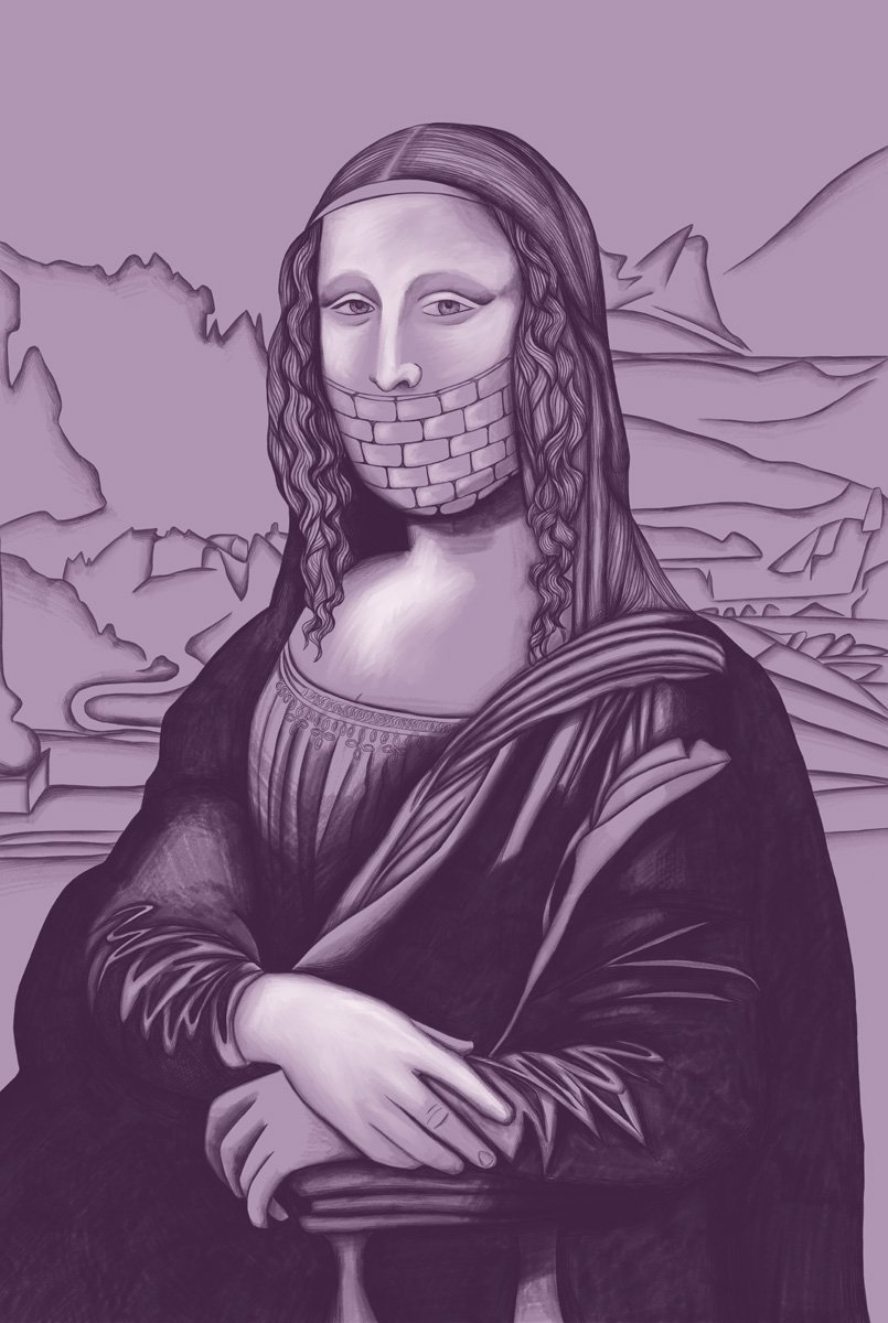 The image shows a piece of artwork by Jina Wallwork.It is a digital drawing of the Mona Lisa originally by Leonardo Da Vinci. Stylistically this piece of artwork has links with surrealism.