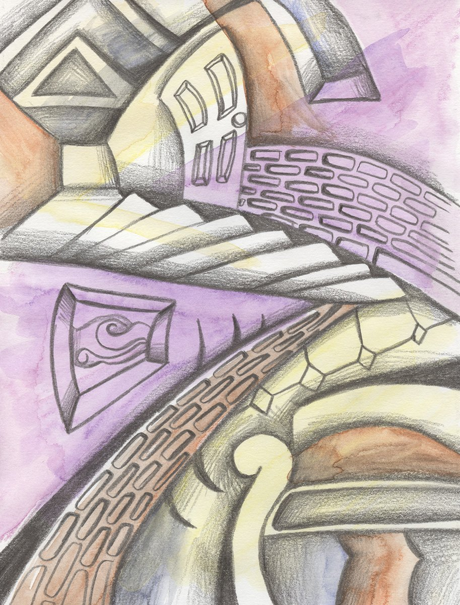The image shows a piece of artwork by Jina Wallwork.It is a drawing of home. Stylistically this piece of artwork has links with abstract art and expressionism.