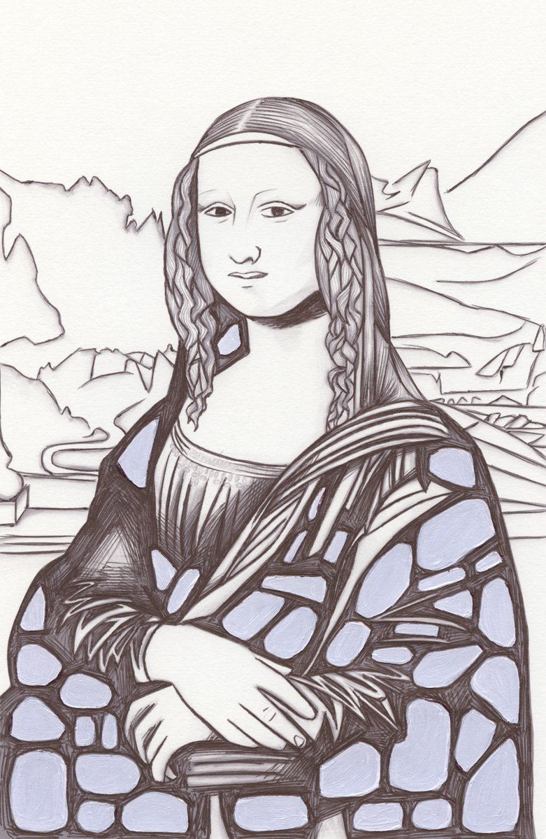 The image shows a piece of artwork by Jina Wallwork.It is an ink drawing of the Mona Lisa originally by Leonardo Da Vinci. Stylistically this piece of artwork has links with expressionism.