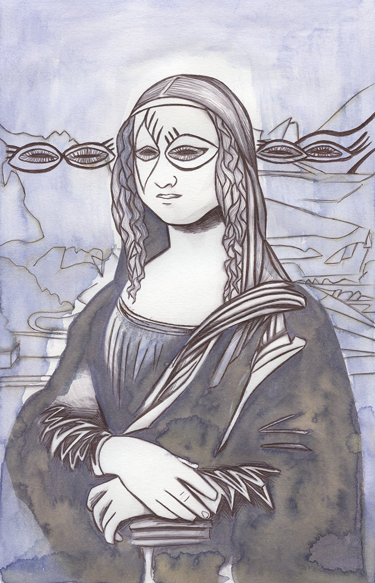 The image shows a piece of artwork by Jina Wallwork.It is an ink and watercolor painting of the Mona Lisa originally by Leonardo Da Vinci. Stylistically this piece of artwork has links with expressionism.