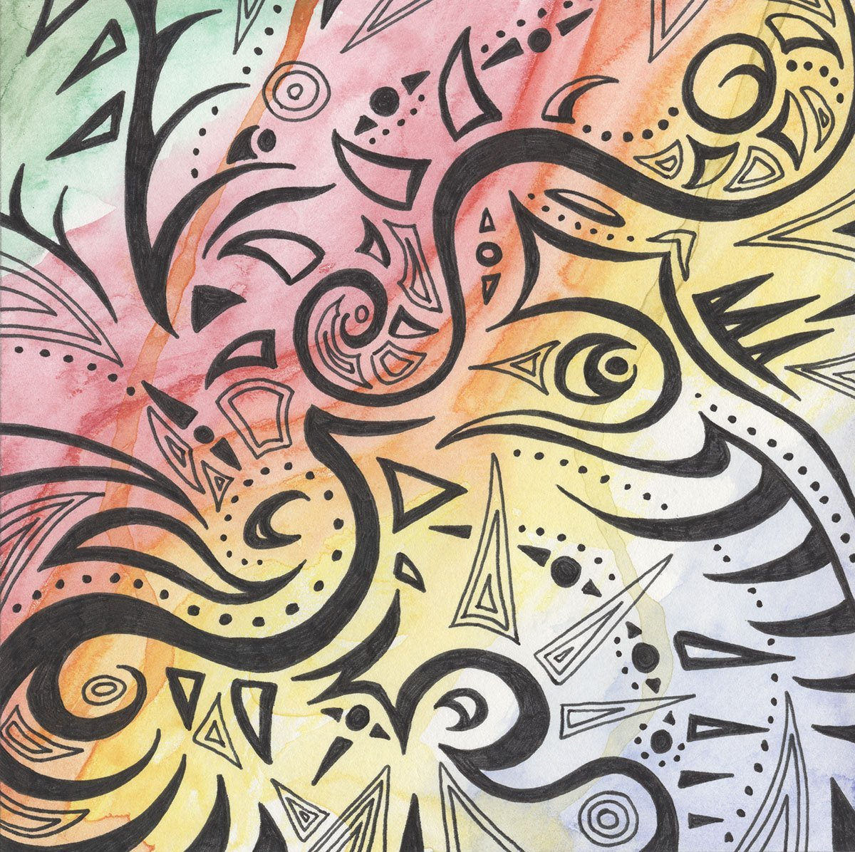 The image shows a piece of artwork by Jina Wallwork. It is an ink and watercolor painting that depicts the feeling of bliss. Stylistically this piece of artwork has links with abstract art.